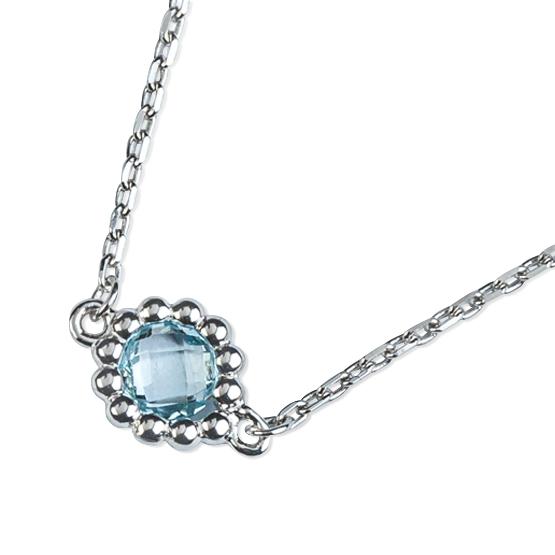 Neotřelý náhrdelník Leslie, bílé zlato a modrý topaz