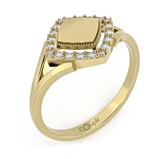 Jedinečný prsten Kostka, žluté zlato se zirkony