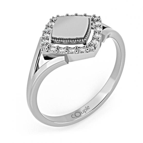 Jedinečný prsten Kostka, bílé zlato se zirkony