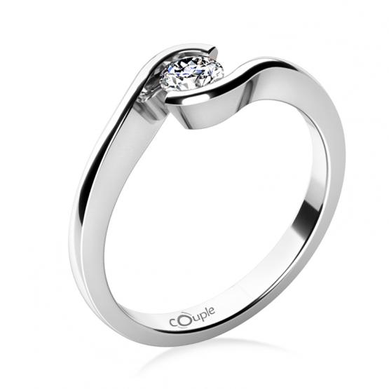 Zásnubní prsten Linette, bílé zlato a výrazný briliant