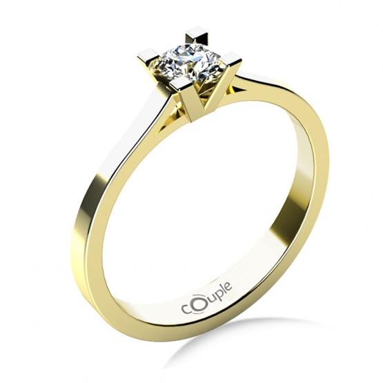 Zásnubní prsten Olla, žluté zlato s briliantem