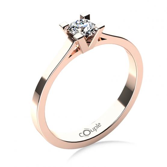 Zásnubní prsten Olla, růžové zlato s briliantem