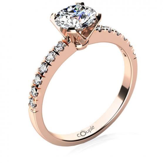 Couple, Luxusní zásnubní prsten Sally, růžové zlato se zirkony