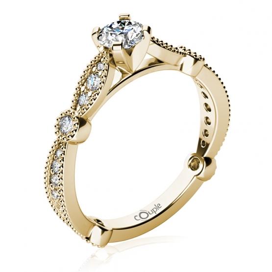Couple, Zásnubní prsten Briar, žluté zlato se zirkony