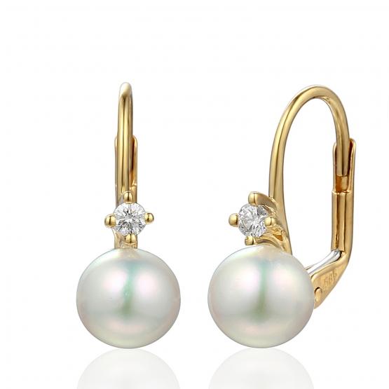Diamantové náušnice Morgan, žluté zlato a bílá perla