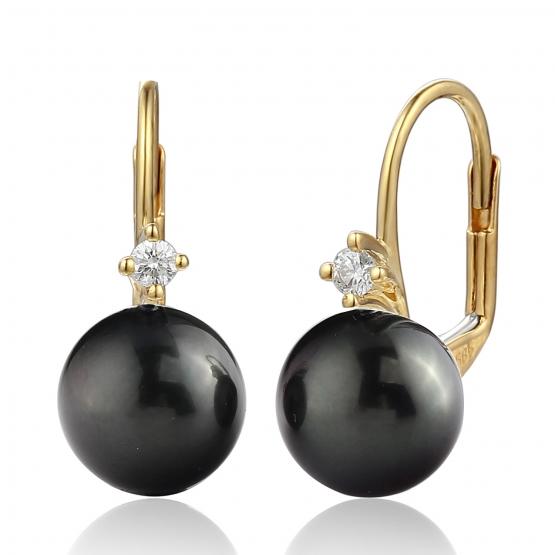 Diamantové náušnice Morgan, žluté zlato a velká tahitská perla