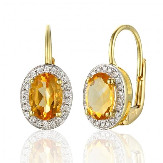 Gems, Elegantní náušnice Gwen, žluté zlato s brilianty a citríny