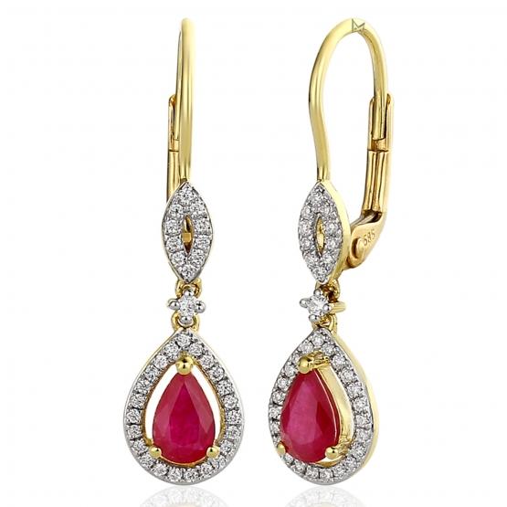 Diamantové náušnice Audrey, žluté zlato s brilianty a rubíny