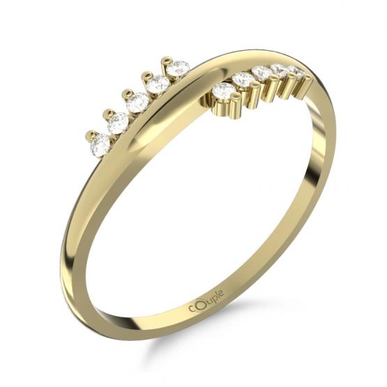 Couple, Originální prsten Sonya, žluté zlato se zirkony