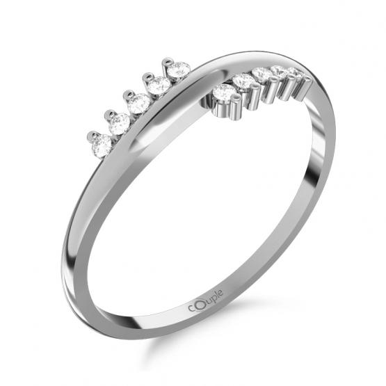 Originální prsten Sonya, bílé zlato se zirkony