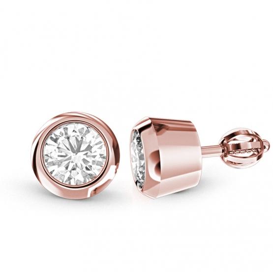 Couple, Elegantní náušnice Lester, růžové zlato se zirkonem