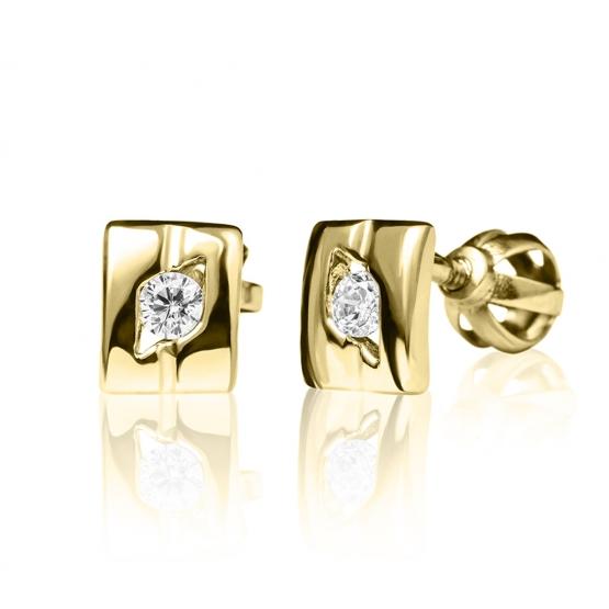 Luxur, Peckové náušnice Diana, bílé zlato se zirkonem