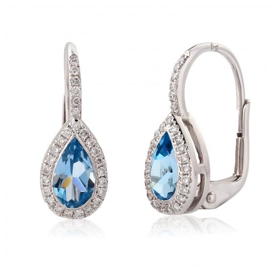 Elegantní náušnice Crystal, bílé zlato s brilianty a topazy