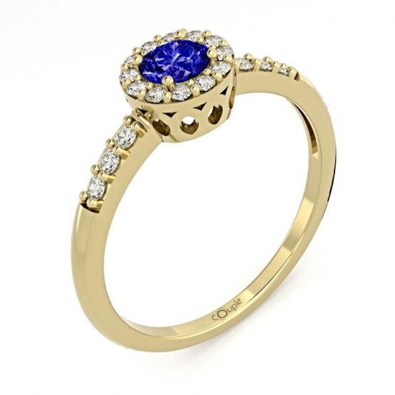 Honosný prsten Sari, žluté zlato se zirkony