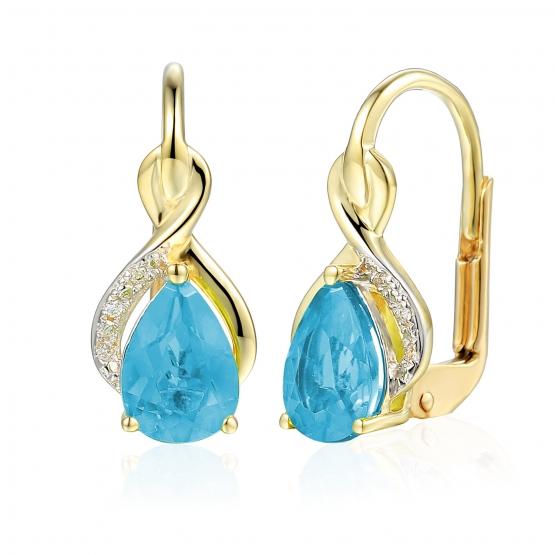 Gems, Zářivé náušnice Merida, kombinované zlato s brilianty a modrými topazy (blue topazy)