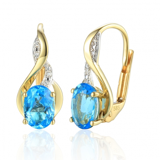 Podmanivé náušnice Allegra, kombinované zlato s brilianty a modrými topazy (blue topaz)
