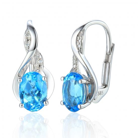 Podmanivé náušnice Allegra, bílé zlato s brilianty a modrými topazy (blue topaz)