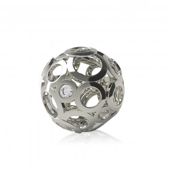 Elegantní přívěsek Ball, bílé zlato s brilianty