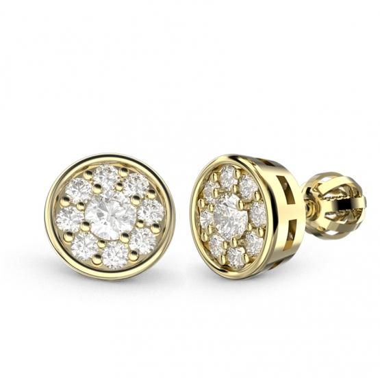 Couple, Elegantní náušnice Heidy, žluté zlato s brilianty
