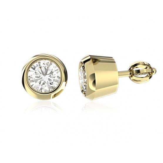 Elegantní náušnice Lester II, žluté zlato s brilianty