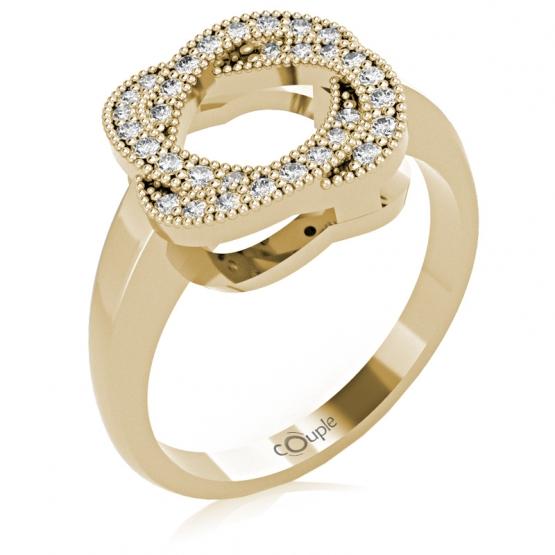 Zajímavý prsten Michel, žluté zlato s brilianty
