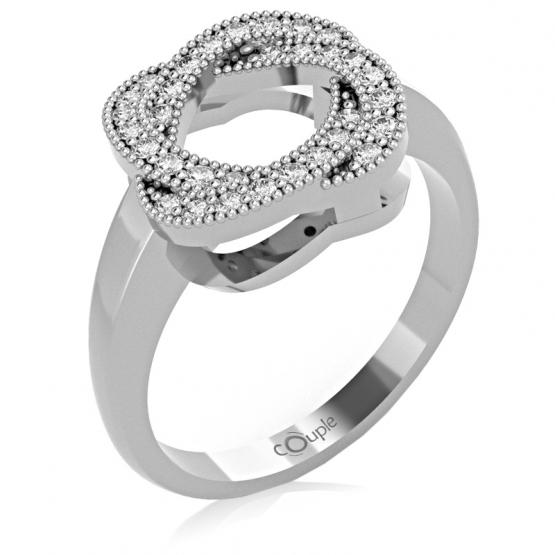 Zajímavý prsten Michel, bílé zlato s brilianty