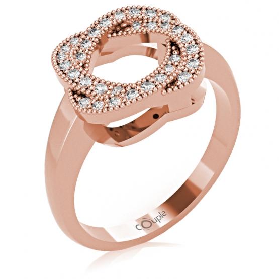 Zajímavý prsten Michel, růžové zlato s brilianty