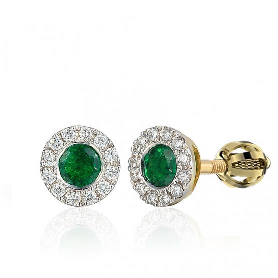 Decentní náušnice Lien, kombinované zlato s brilianty a smaragdy
