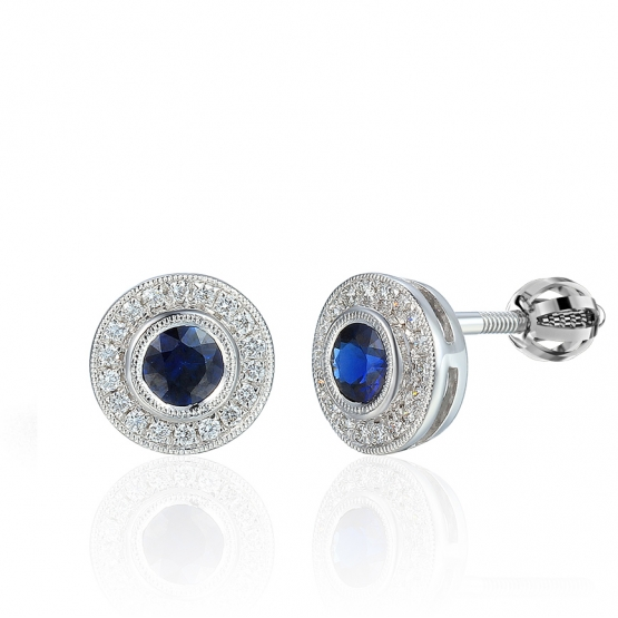 Půvabné diamantové náušnice Lucienne, bílé zlato s brilianty a safíry