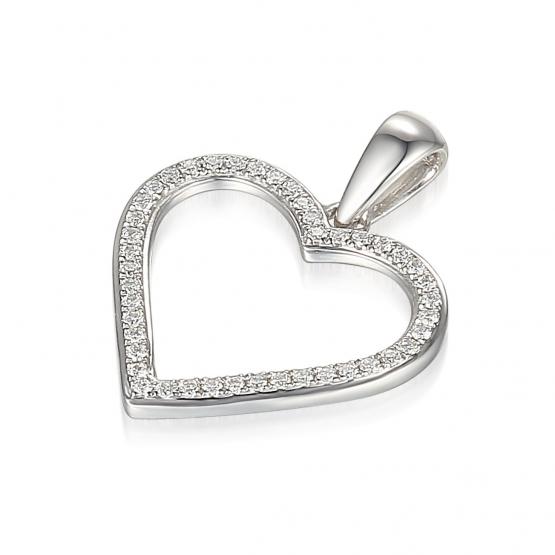 Elegantní přívěsek Amber, bílé zlato s diamanty