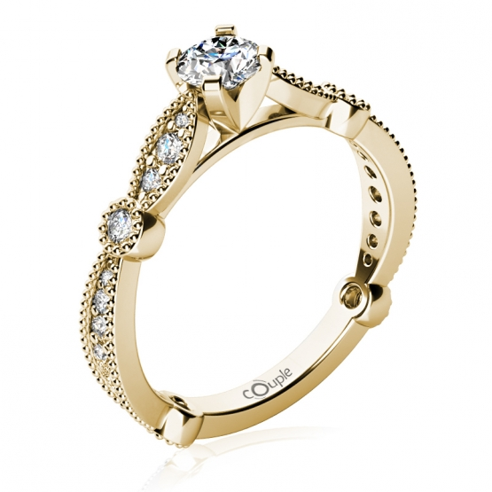 Zásnubní prsten Briar, žluté zlato s brilianty