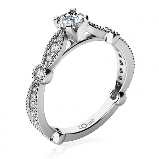 Zásnubní prsten Briar, bílé zlato s brilianty