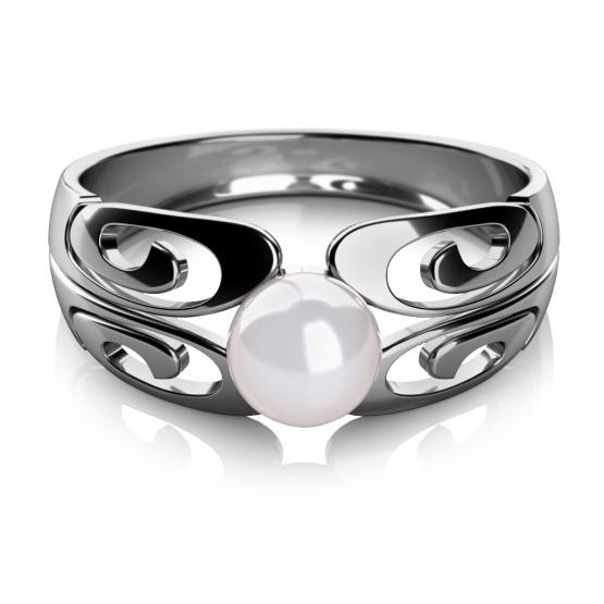 Zajímavý prsten Brina, bílé zlato a perla