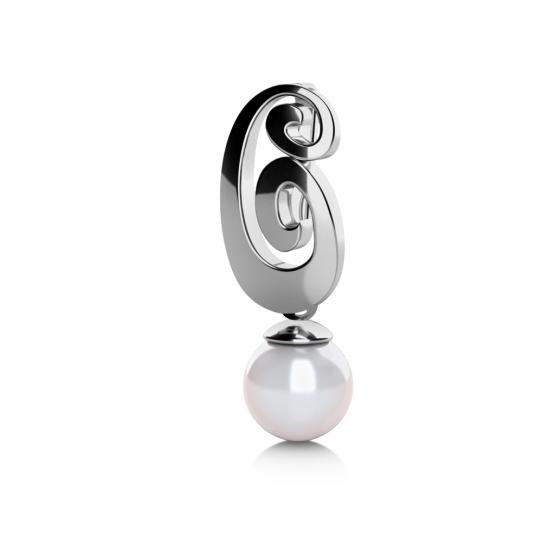 Zajímavý přívěsek Brina, bílé zlato a perla