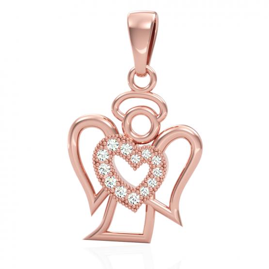 Přívěsek Angel II, růžové zlato se zirkony