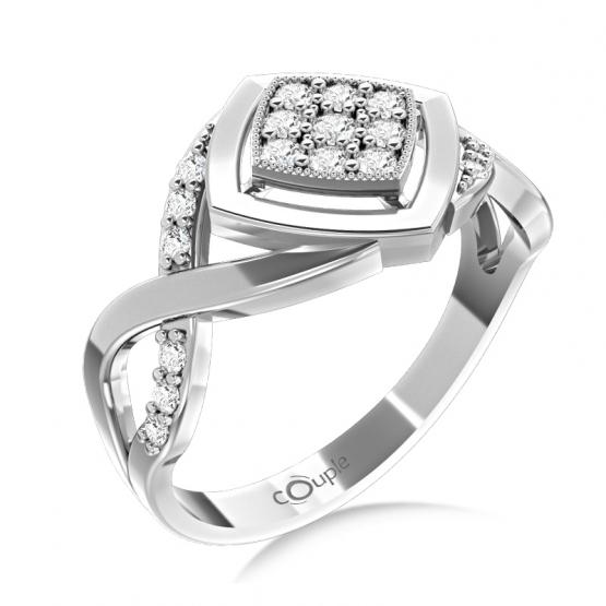 Nepřehlédnutelný prsten Kostka, bílé zlato se zirkony