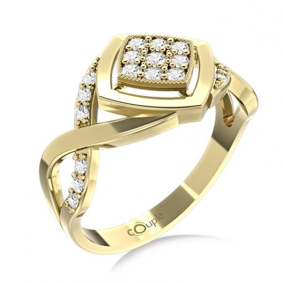 Nepřehlédnutelný prsten Kostka, žluté zlato se zirkony