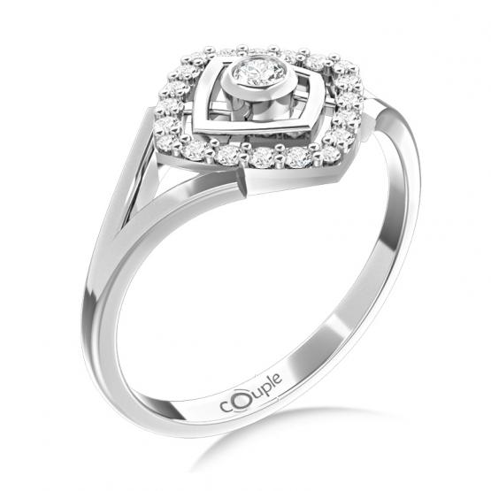 Neotřelý prsten Kostka, bílé zlato se zirkony