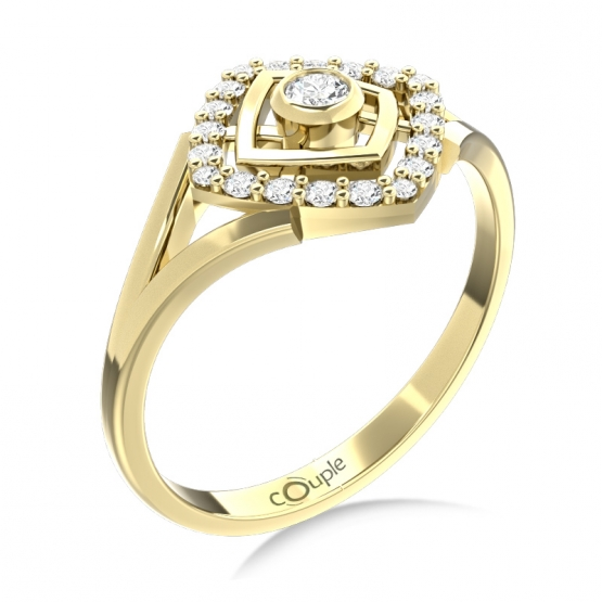 Neotřelý prsten Kostka, žluté zlato se zirkony