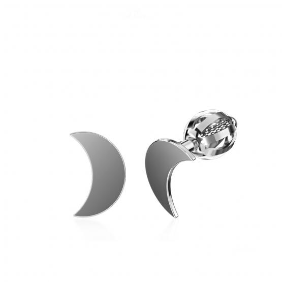 Minimalistické náušnice IDOL Moon, bílé zlato