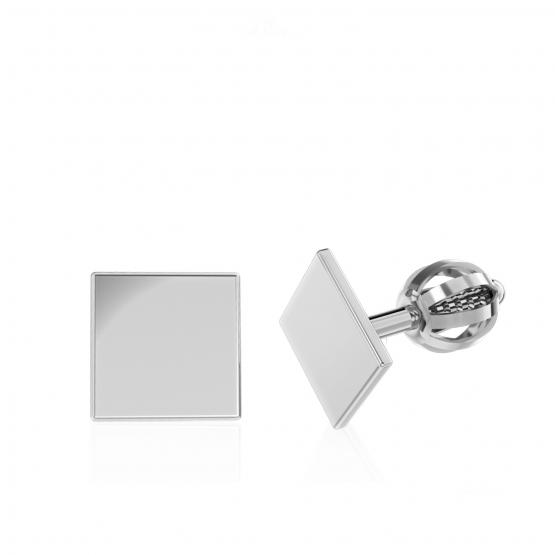 Minimalistické náušnice IDOL Square, bílé zlato