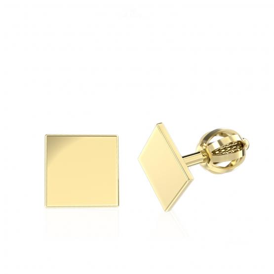 Minimalistické náušnice IDOL Square, žluté zlato