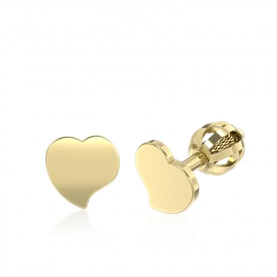 Minimalistické náušnice IDOL Heart, žluté zlato