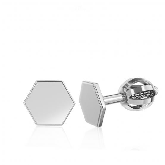 Couple, Minimalistické náušnice IDOL Hexagon, bílé zlato