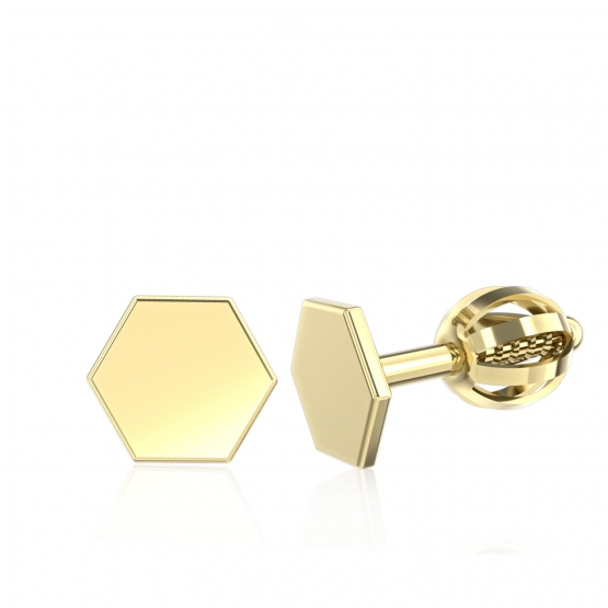 Couple, Minimalistické náušnice IDOL Hexagon, žluté zlato