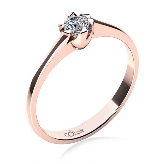 Zajímavý zásnubní prsten Jess, růžové zlato a zirkon