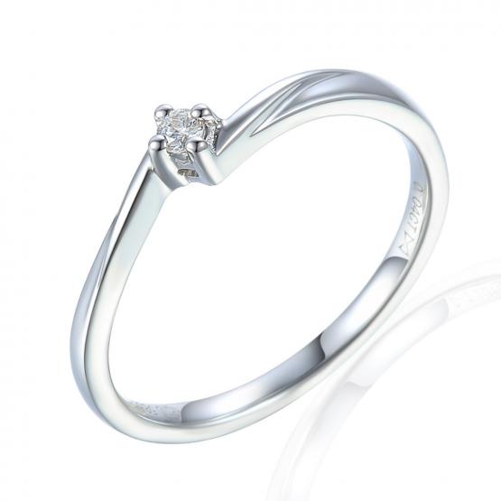Jemný prsten Caris, bílé zlato s briliantem