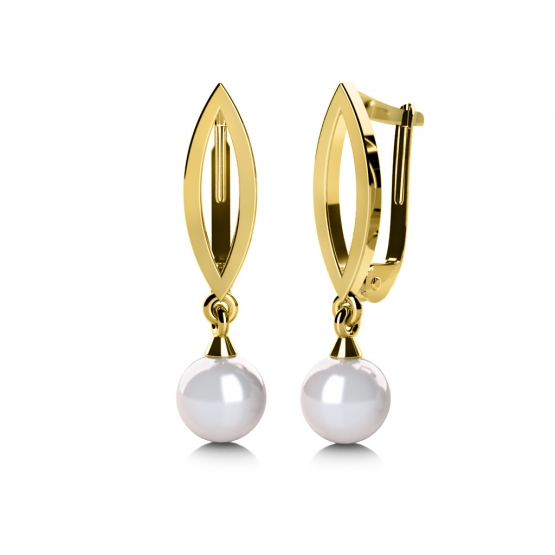 Půvabné náušnice Taisa, žluté zlato a perla