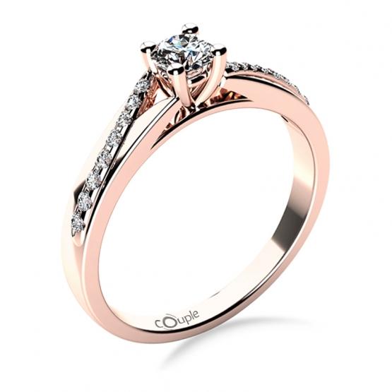 Luxusní zásnubní prsten Beatrice, růžové zlato a brilianty