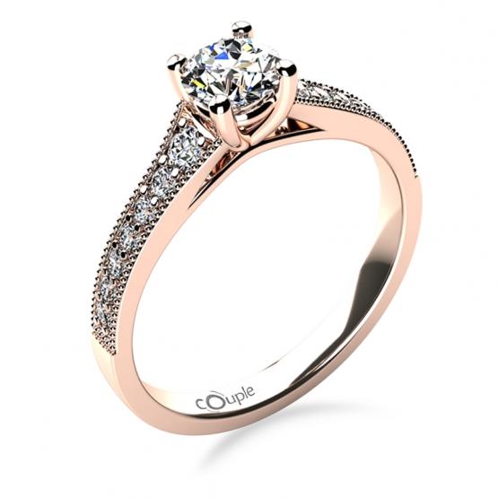 Třpytivý zásnubní prsten Esme, růžové zlato a brilianty